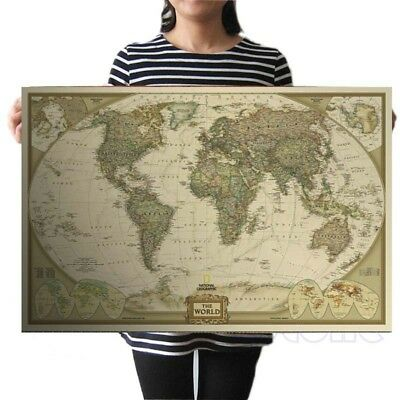 Vantage World Map Wall Poster Sticker Kids Global Retro Kraft Style Home Decor