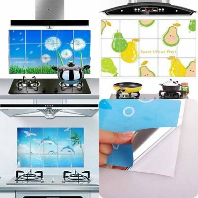 Oil Proof Kitchen Sticker Aluminum Foil Decal Decor Waterproof Home Wall Sticker