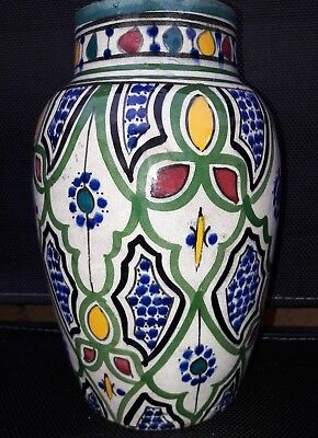 Antique Islamic Iznik Pottery Vase - 19Th Century Signed