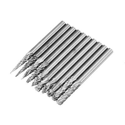 Drillpro 10Pcs 3x3mm Tungsten Carbide Burr Rotary Drill Bits Double