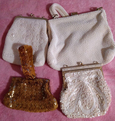 Vintage purses, 4 total, 3 white, 1 gold beaded and sequined.