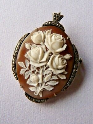 Art Deco shell cameo pendant brooch, roses, sterling silver marcasite- Beautiful