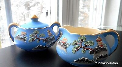 Charming VINTAGE signed JAPAN hand painted scene Blue Sugar bowl and CREAMER
