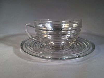 Anchor Hocking Glass Vintage Crystal Manhattan Coffee Cup And Saucer Art Deco