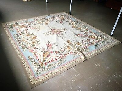 Large Vintage French Aubusson Savonnerie Design Needlepoint Area Rug - Stunning!