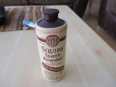Antique Squibb Tooth Powder Wartime Conservation Container