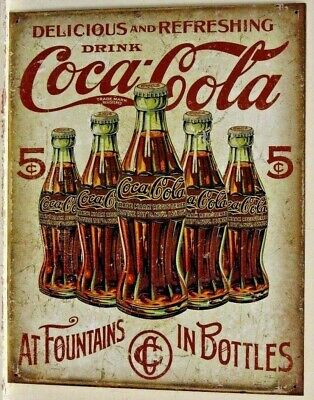 Coca Cola Coke Soda Retro Bottles Vtg Metal Tin Ad Sign Picture Wall Decor