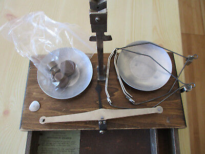 AMERICAN N6 ANTIQUE APOTHECARY DENTAL TRAVEL BALANCE SCALE w/ORIGINAL WOOD CASE