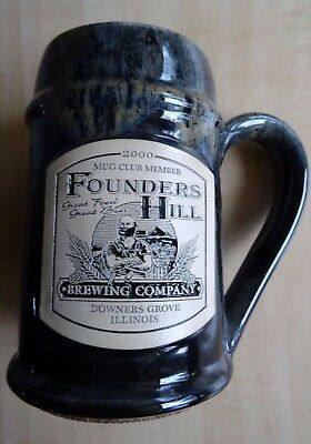 2000 Founders Hill Mug Club Member  Brewery Restaurant Downers Grove Illinois