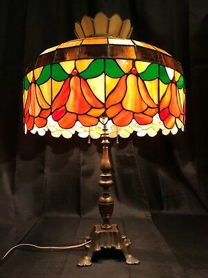 Antique Signed Solid Brass Lamp Tiffany Style Leaded Stained Glass Tulip Shade
