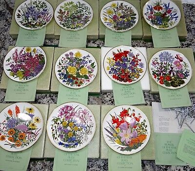 Vtg Set of 11 FLOWERS OF THE YEAR Franklin Mint Plate Collection by Wedgwood
