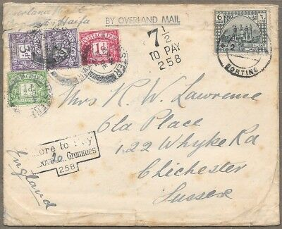 1924 OVERLAND MAIL Westbound BAGHDAD HAIFA to SUSSEX ENGLAND Postage Due !