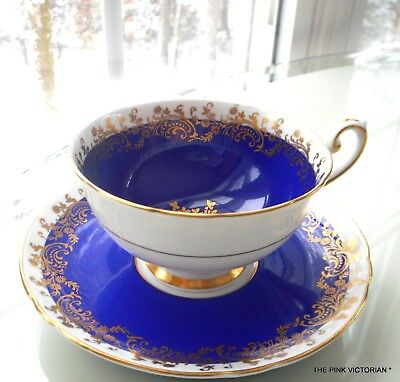 SHELLEY fine Bone China Porcelain TEA CUP matching SAUCER midnight BLUE gilt