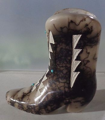 Navajo Native American Cowboy Boot Horse Hair Signed