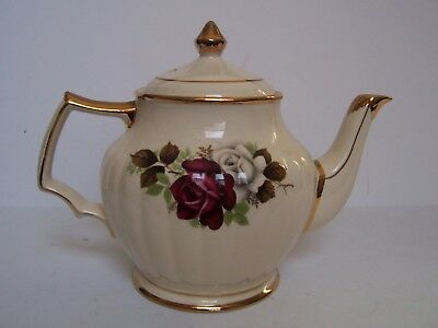 Vintage English Porcelain Red White Rose Teapot with Heavy Gold Trim