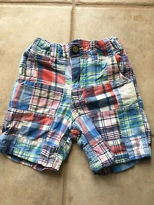 Boys Baby Gap Plaid Shorts, Size 3 Years 3t, Blue Multi Patch Adjustable Waist