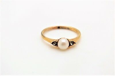 Dainty Vtg? Cellini Sterling & Vermeil Ring w/Real Pearl & Crystal Stones - Sz 5