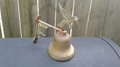 Vintage  Wall Mount Solid Brass  Bell With Bird On Top..