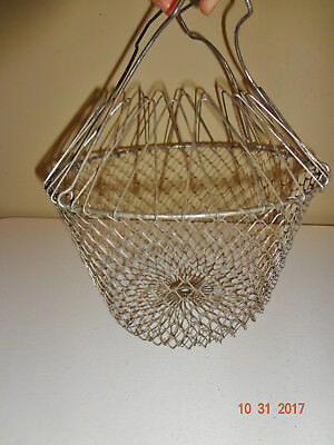 Vintage Folding Hanging Metal Wire Mesh Farm Egg Basket - Rustic Kitchen Decor