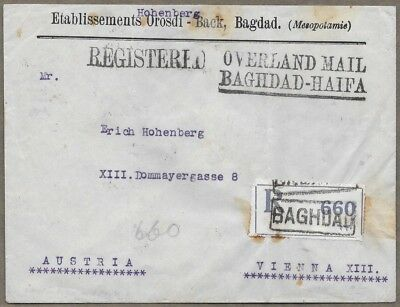 1926 OVERLAND MAIL Westbound Registered Cover BAGHDAD to AUSTRIA HS-08 Wax Seal