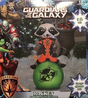 Guardians Of The Galaxy Rocket AirBlown Christmas Inflatable 3ft Tall LED Gemmy