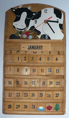 Decorative Cow Design Wooden Clock & Calendar
