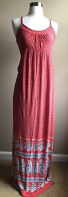 OLD NAVY Women's Size XS Maternity Strawberry Red Paisley Soft Maxi Dress