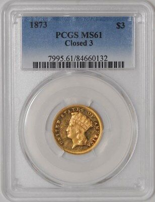 1873 $3 Gold Indian Closed 3 MS61 PCGS