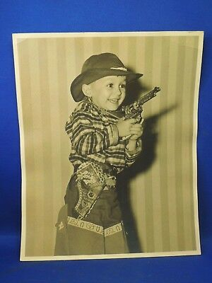 Vintage Boy Dressed up as a Cowboy with Cap Gun & Lone Ranger Holster Photograph