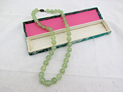"""Vintage Antique Chinese Export Hand Knotted Carved 13mm Jade Bead Necklace 25"""""""