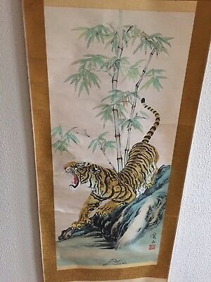 A Nice Hand Painted Scroll Of A Tiger