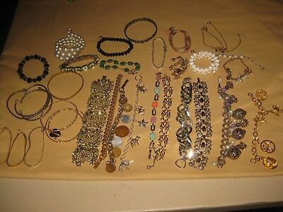 LOT OF 35 Vintage Contemporary Bracelet Jewelry Charm Chain Style
