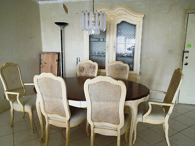 Vtge Thomasville French Provincial Dining Room Set Table Chairs Cabinet Leaves