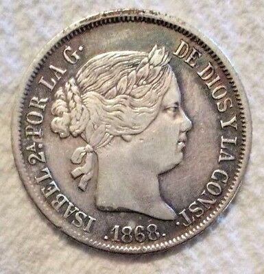 1868 Philippines 20 Centimos KM# 146 .900 Silver Coin