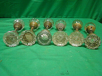 LOT OF 6 SETS (12 KNOBS) GLASS CRYSTAL ANTIQUE ART DECO DOOR KNOBS b