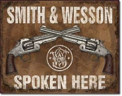 Smith Wesson S & W Spoken Here  Tin Ad Sign Retro Gun Game Room Garage Cave Bar