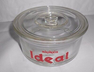 Vtg Wilson & Co Ideal Dog Food Advertising Glass Canister/Lid Anchor Hocking