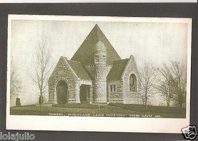 Vtg Postcard Highland Lawn Cemetery Chapel Terre Haute Ind Indiana Undivided Bac