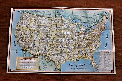 Vintage 1959 Shell Transcontinental Mileage & Driving Time Map H.M. Gousha Co.