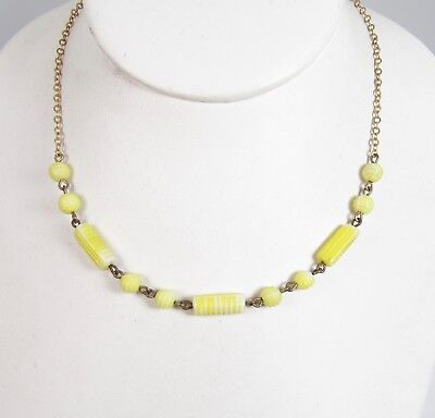 Vintage Pressed Glass Vibrant Yellow Necklace Textured Round & Cylinder Beads
