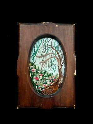 antique/Vintage Hand Embroidered floral picture In Wooden Shabby Chic Frame
