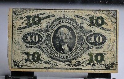 1863 US 10 Cents Fractional Currency Note [01DU]