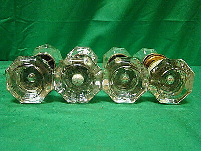 Lot Of 4 Sets (8 Knobs) Oversized Glass Crystal Antique Art Deco Door Knobs