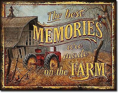 Old Farm Picture Metal Tin Ad Sign Barn Vintage Tractor Equipment Rustic Decor