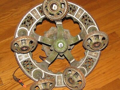 Vintage Art Deco Cast Metal Hanging Chandelier Lighting Rewired Ornate 5 Bulb