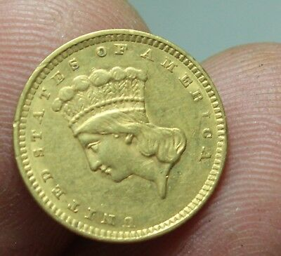 1857 Indian Princess Head One Dollar Gold COIN