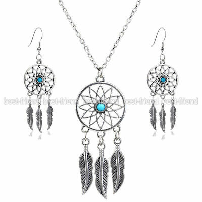 DREAM CATCHER NECKLACE SET IN TURQUOISE AND SILVER TONE  24 inch adj.