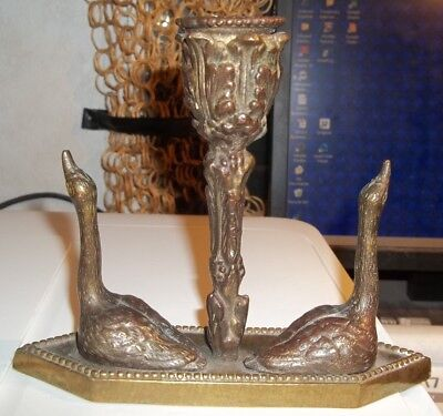 Antique Cast Bronze Candlestick With Swans and Tulip? Stem. Beautiful Piece