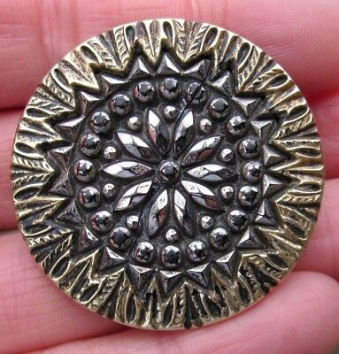 "1&1/2"" Antique Brass, BLACK GLASS Silver Luster, FLOWER Button"