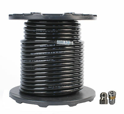 """Schieffer 3/8"""" x 250' 4000 PSI Thermoplastic Sewer Jetter Hose & 8.0 Nozzles"""